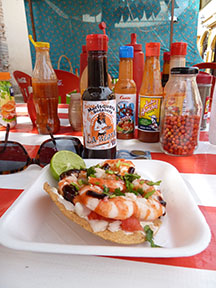 Shrimp tostada at a street vendor's for about $2. Muy delicioso!