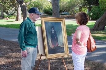 Pacific Grove historian, and my neighbor, Don Beals, with Lavinia Waterhouse self-portrait